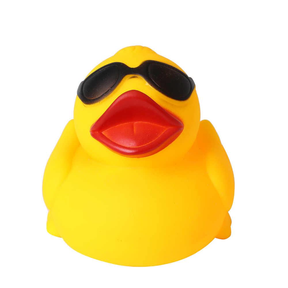 """5,7 """"/14,4 см желтые утки игрушки резиновая игрушка для купания чистая натуральная Милая резиновая уточка с солнцезащитными очками для малыша Kinder (A38115)"""