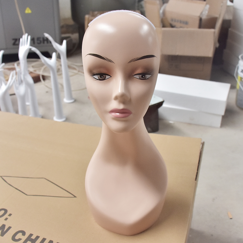Female Realistic Plastic Mannequin Head For Wig And Hat display