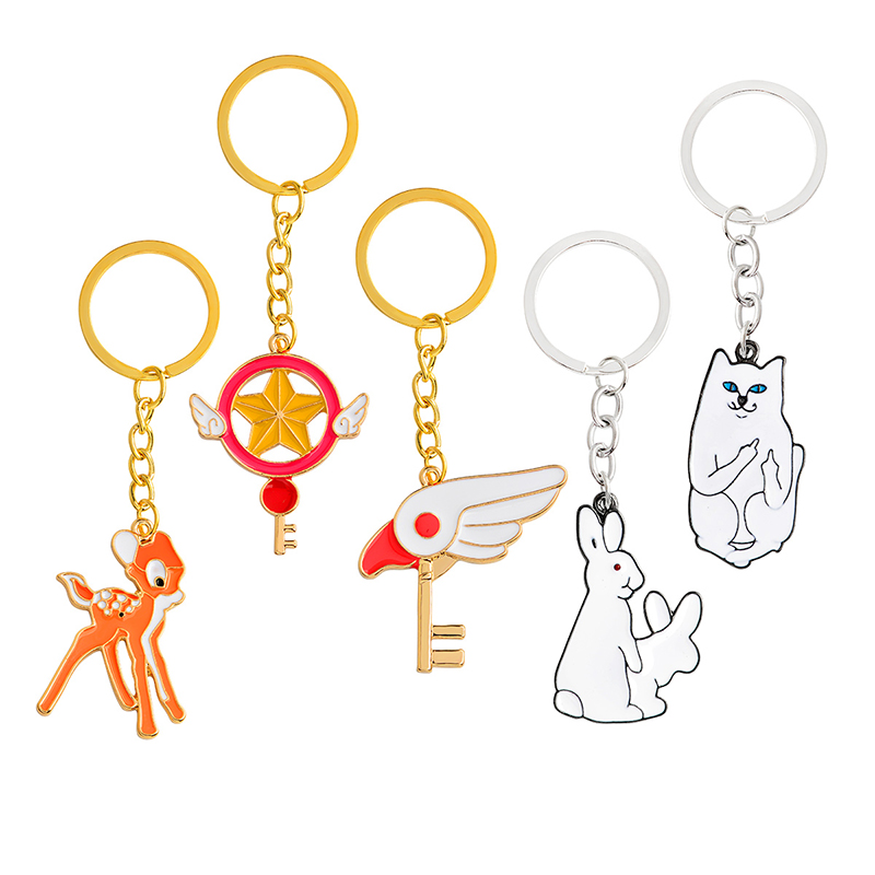 Card Captor Fawn Deer Middle Finger Cat Rabbits Keychain Cartoon Key Chain Cute Animal Keyring Jewelry Gift For Kids Friends
