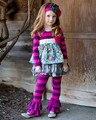 2016 Atacado persnickety remake de Alta qualidade boutique elegante plissado roxo calças meninas vestir roupas