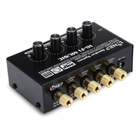 4 Channel Stereo Headphone Amp Micro Amplifier Audio Switcher Ultra Compact Black