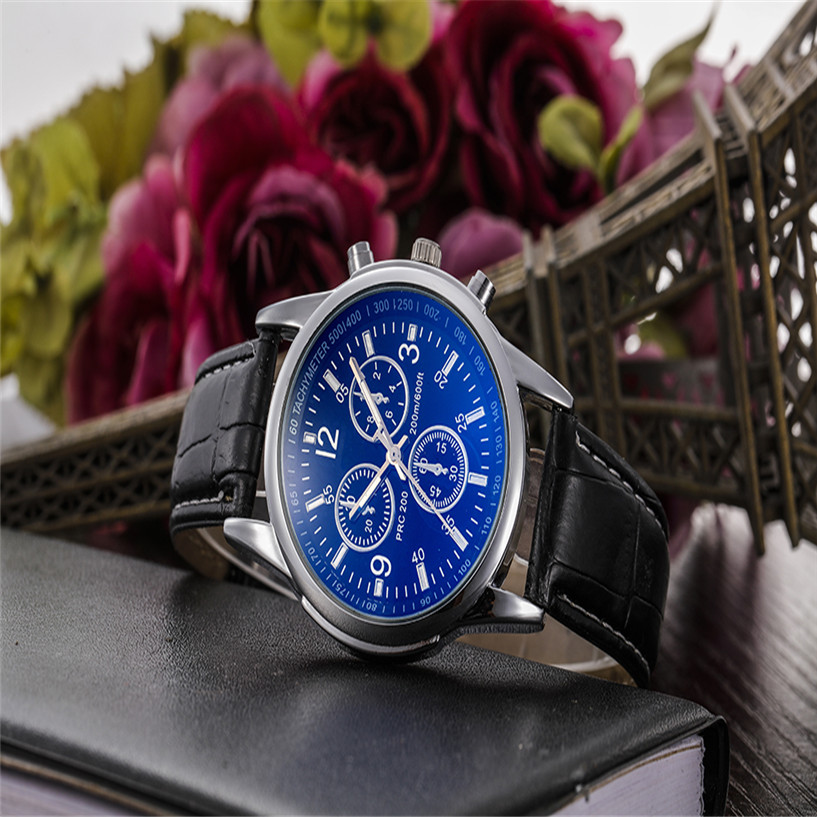 2019 NEW NEW  Luxury Fashion Faux Leather Mens Analog Watch Watches Men Watch Relojes Mujer Kol Saati
