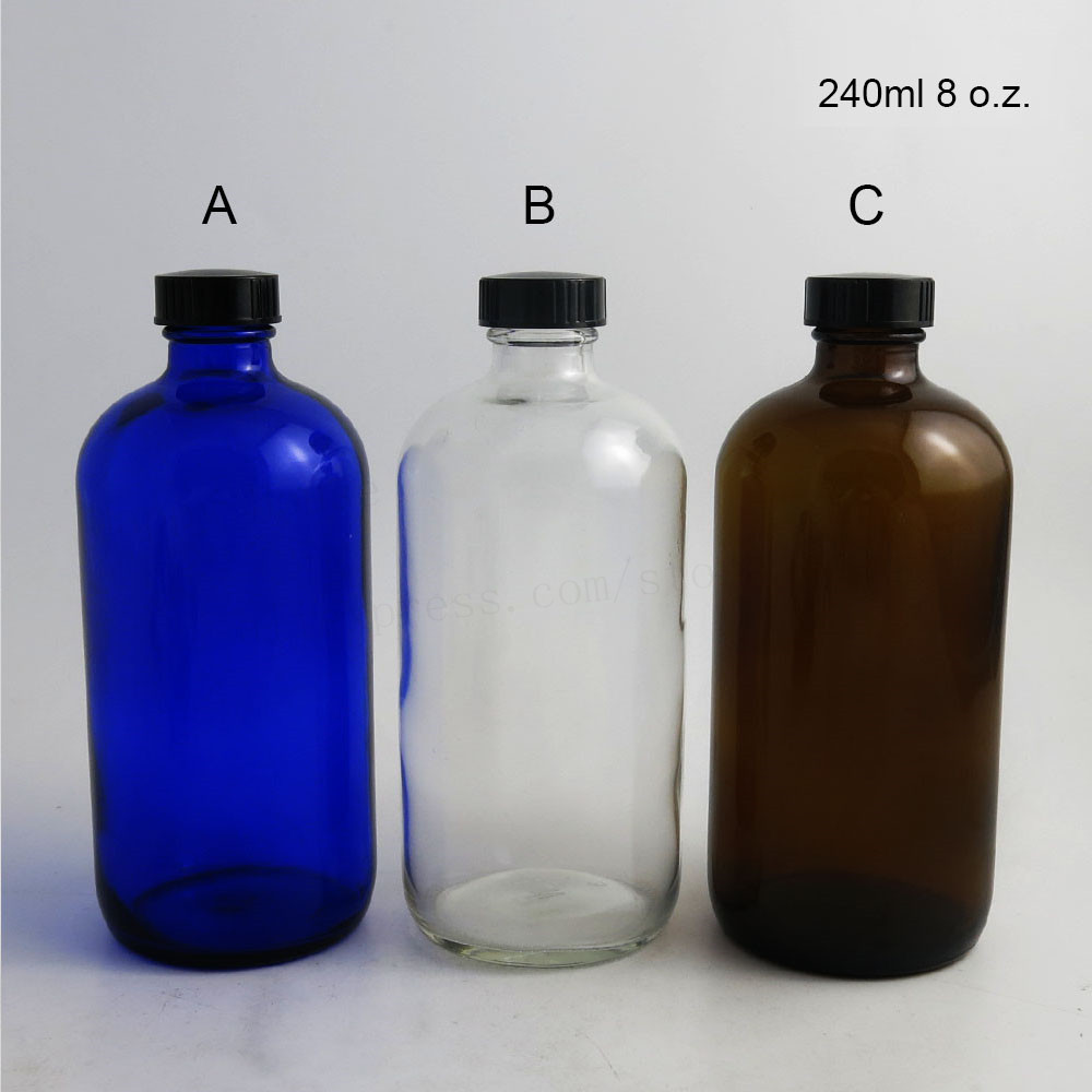 360 X 240ml 8oz Big Clear Amber Blue Standard Boston Round Glass Bottles Containers with Black Phenolic Closure Cone Lined Cap