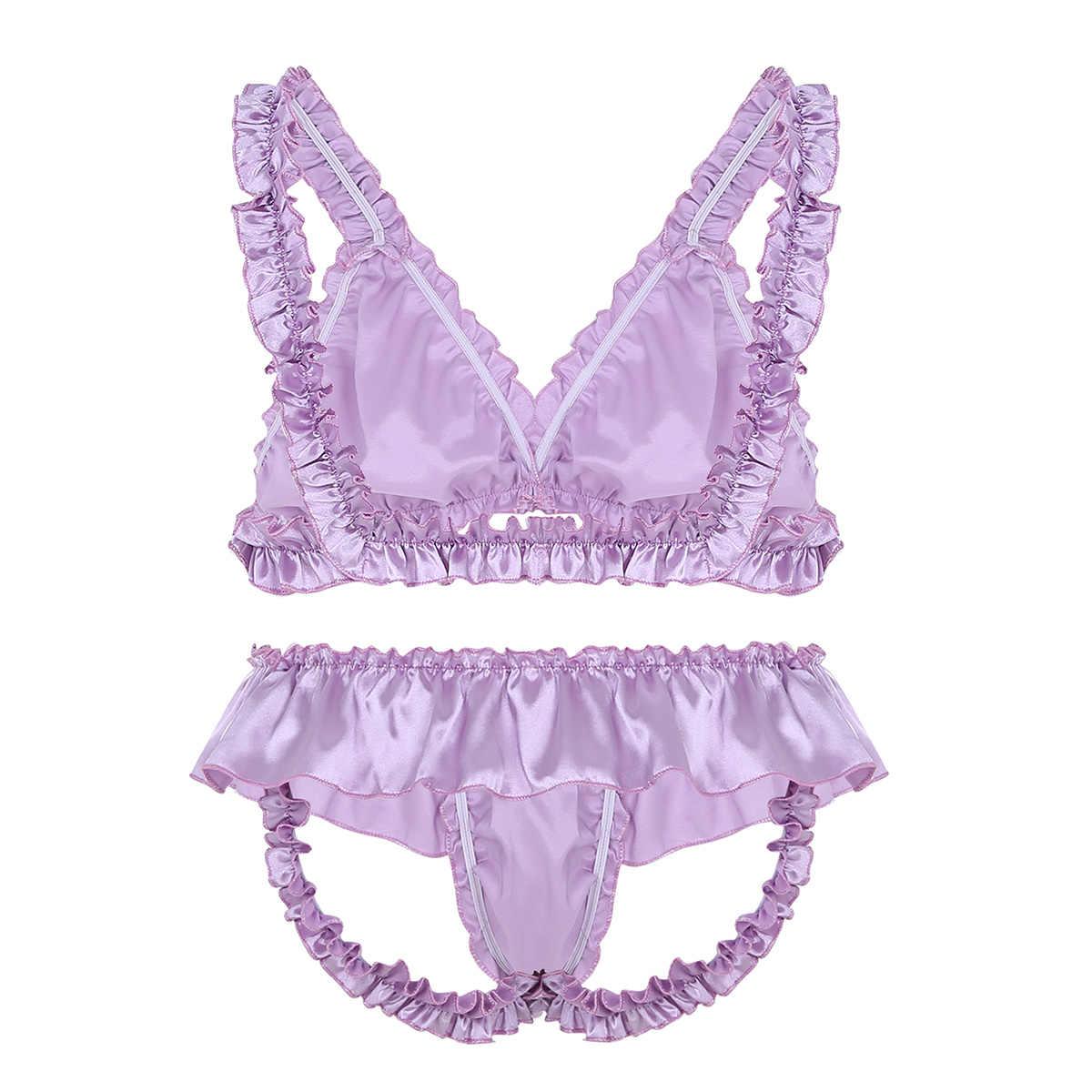 Sexy Homo Mannen Ondergoed Set Bikini Beha Top met Blote Bum Slips Mannen Sexy Skirted Onderbroek Lingerie Sissy Dame Jongen cross Dress