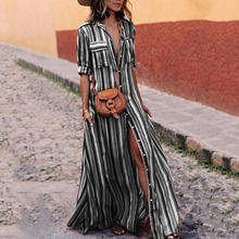YJSFG HOUSE Women Dresses Button Stripe Maxi Loose Long Dress Tea Boho Shirt Harajuku Plus Size Summer Beach