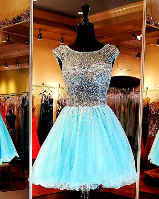 Blue Semi Formal Dress with Crystals See