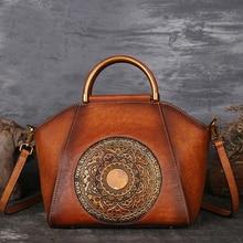 オリジナル 100% 本革エンボス加工牛革女性のハンドバッグの高品質ヴィンテージ手動塗料クロスボディホーボーバッグ