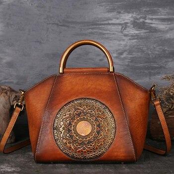 NIUBOA Originele 100% Lederen Tas Retro Koeienhuid Vrouwen Handtassen Hoge Kwaliteit Vintage Handleiding Schilderen Crossbody Hobos Tassen