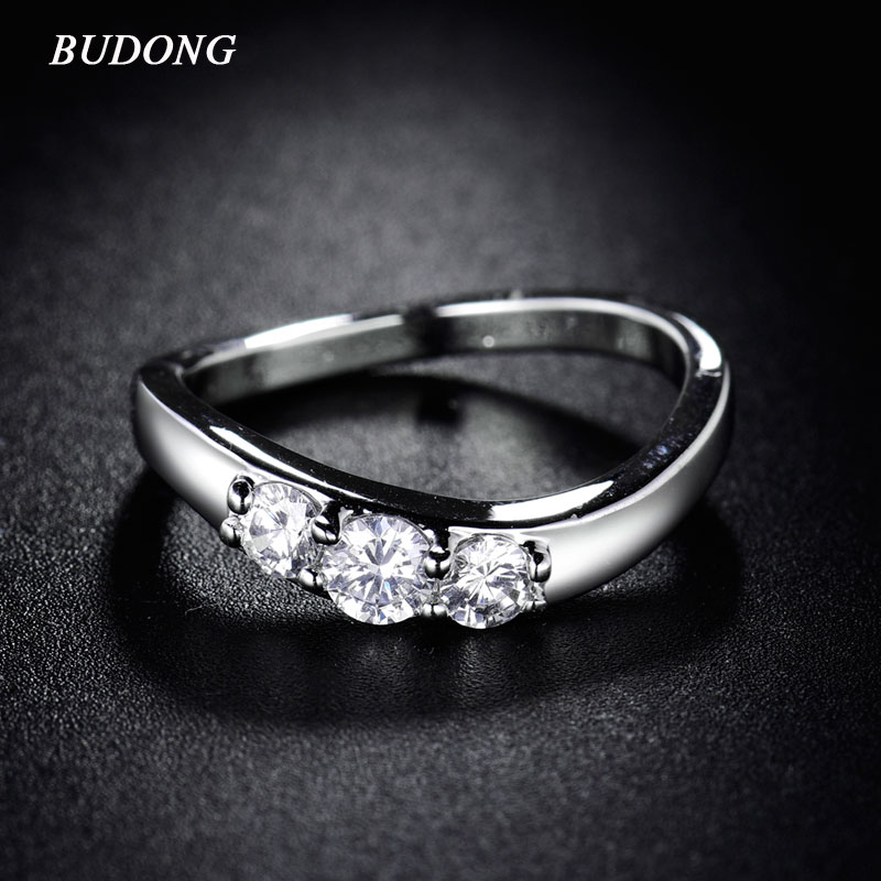 BUDONG New 2017 Lady Ring Party Curve Best Friends Gift Silver ...