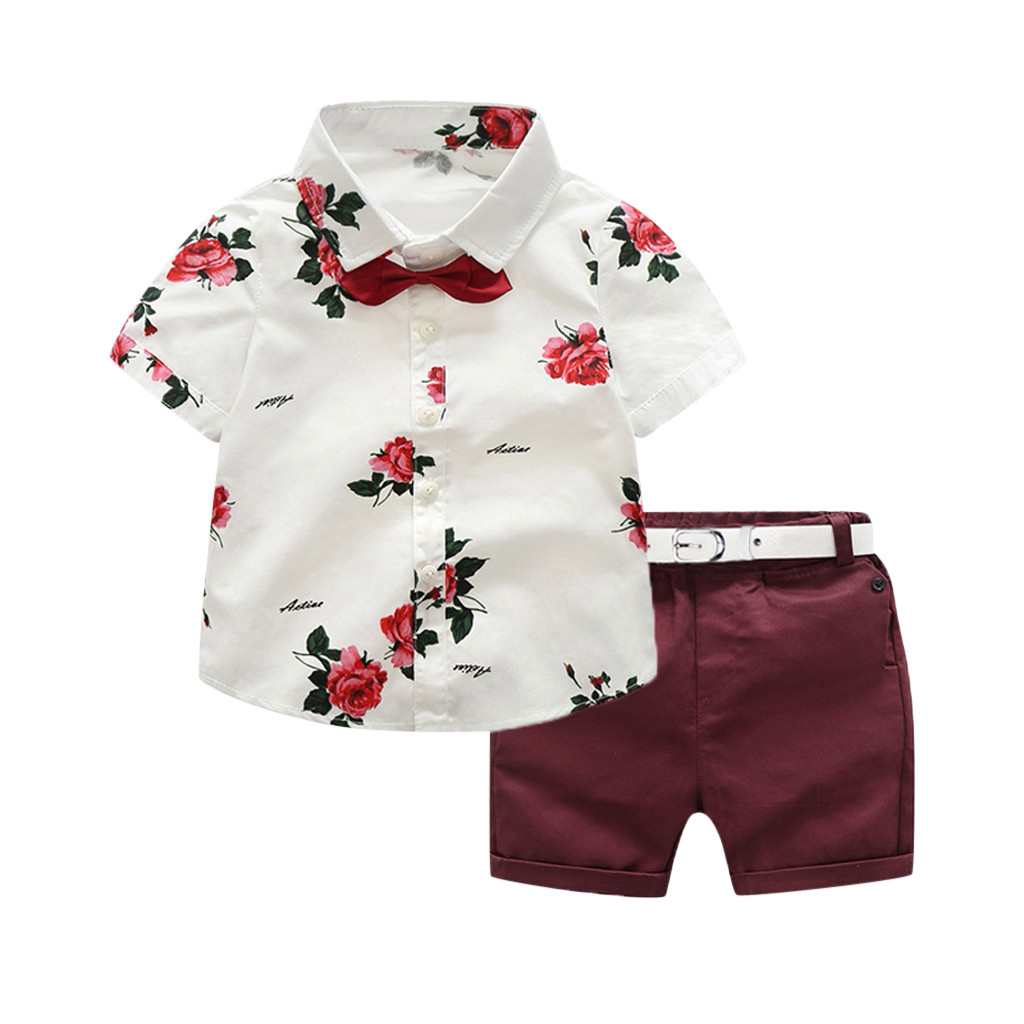 TELOTUNY Boys Outfits Toddler Boy Gentleman Suit Rose Bow Tie T-Shirt Shorts Pants Outfit Set Set Kids Sets Fashion New Dec(China)