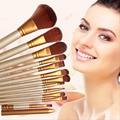 12 unids/set Profesional De Madera Cosméticos Maquillaje Pinceles Set Marca Maquillaje Pinceles de Sombra de Ojos Delineador de Labios Brush Tool Kit