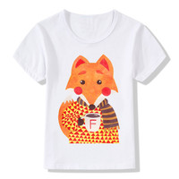 2019 Newest Children's Winter Fox Print Funny T Shirts Summer Boys and Girls Clothes Kids Novelty Tops Baby Tee Shirt,ooo2071