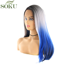 SOKU Synthetic Lace Front Wigs Straight 24 Inch Free Part