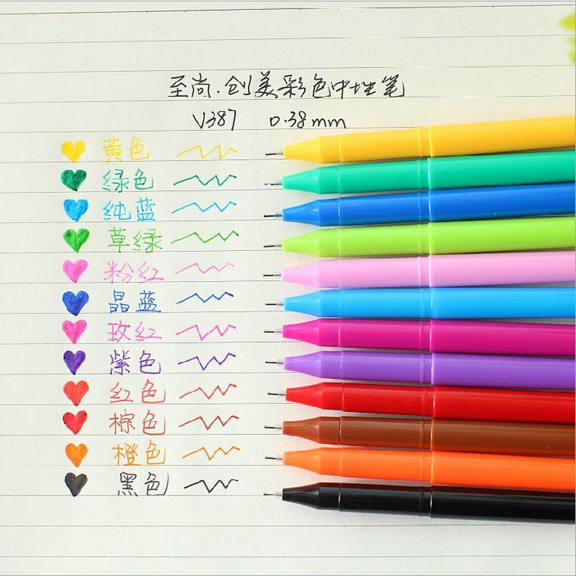 12pcs kawaii Novelty colorfull gel pen set Cartoon Sketch Drs