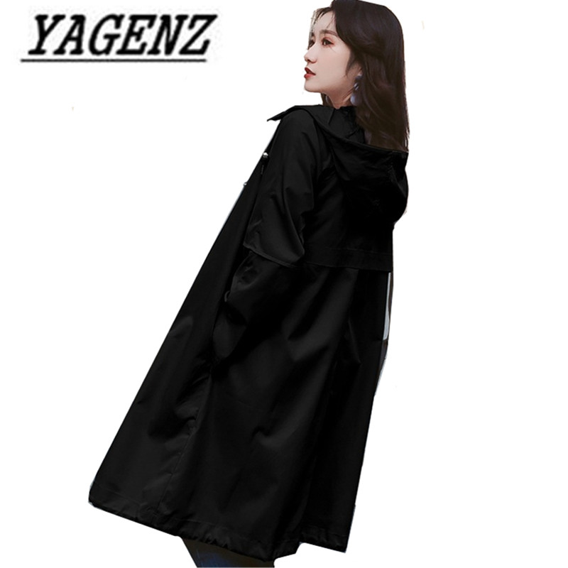 2018 Korean Women's Hooded Windbreaker coats Spring Loose Solid Outerwear Casual bf Student Windproof Rainproof Hooded   Trench