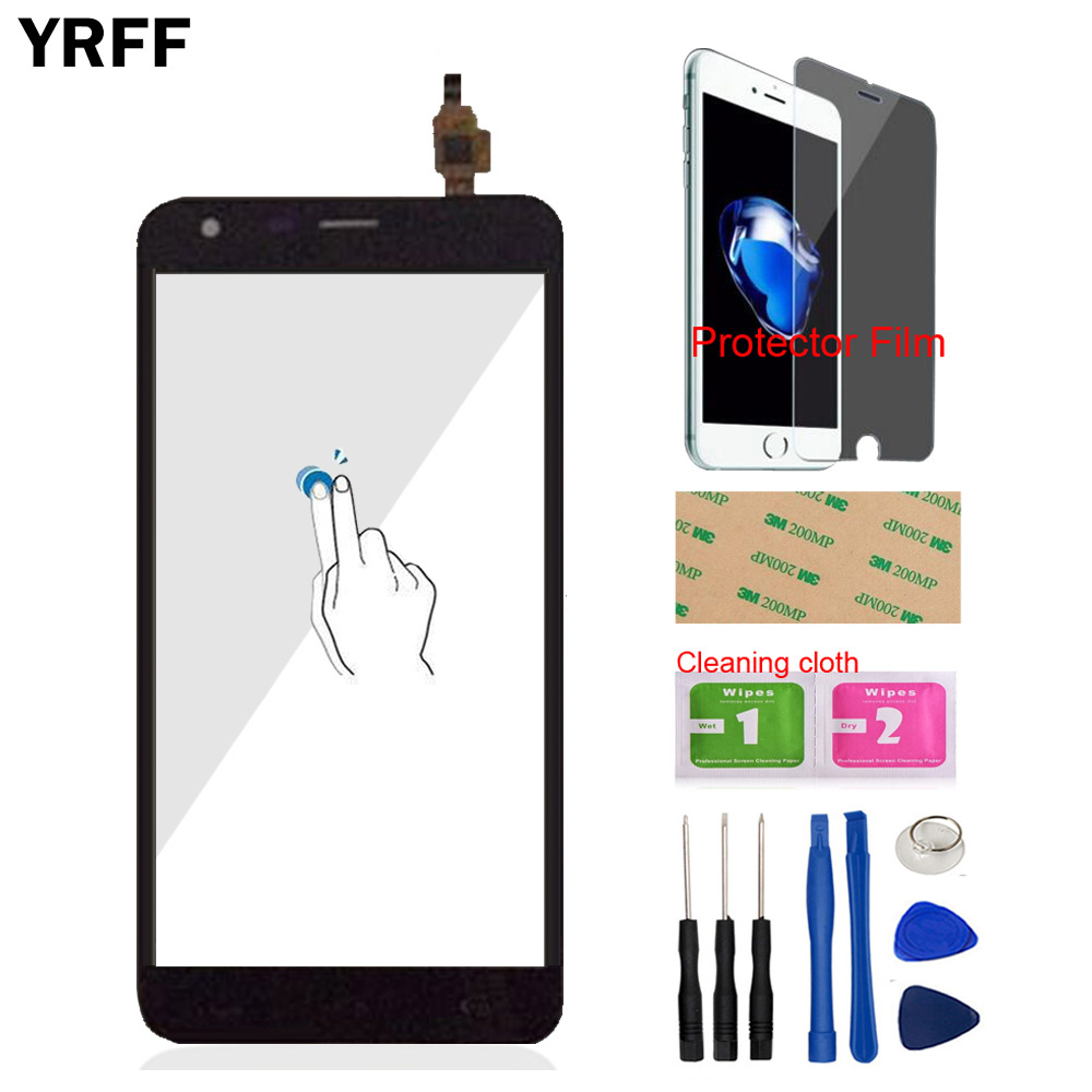 YRFF 5.5'' Mobile Phone For Homtom HT30 HT 30 Touch Screen Digitizer Panel Front Glass Sensor Tools Free Protector Film Adhesive