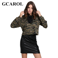 GCAROL New Autumn Winter Camouflage Embroidered Floral Hooded High Quality Bind Strap Women Crop Sweatshirt Pullover