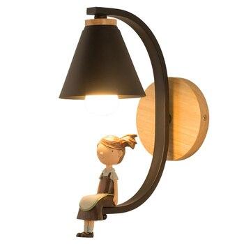 לבן/שחור בני & בנות קיר מתקן תאורה מקורה 1 Pcs קיר ילד אור ילד של קיר מנורת עבור ילדי חדר שינה סלון בר