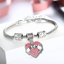 HOMOD Family Gift Mom Sister Hope Believe Love Heart Pink Crystal Rhinestone Brand Charm Beads Bracelets Jewelry Women