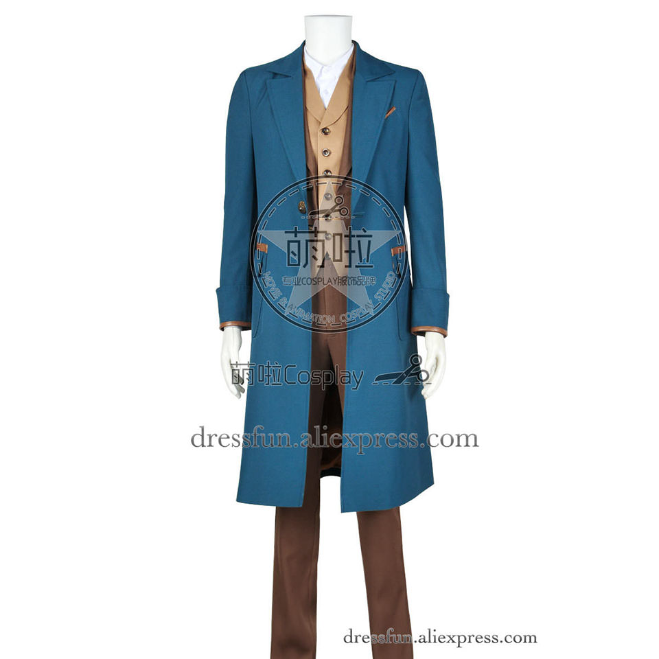 Fantastic Beasts and Where to Find Them Newt Scamander Cosplay Costume Cotton Version Outfits Blue Trench Coat Halloween Party