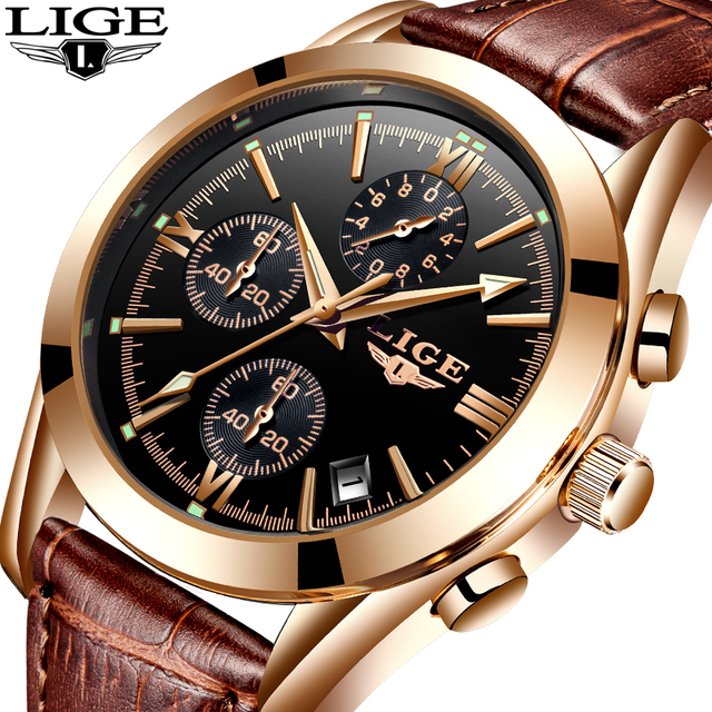 LIGE Watch Men Sport Quartz Fashion Leather Clock Waterproof Business Watch