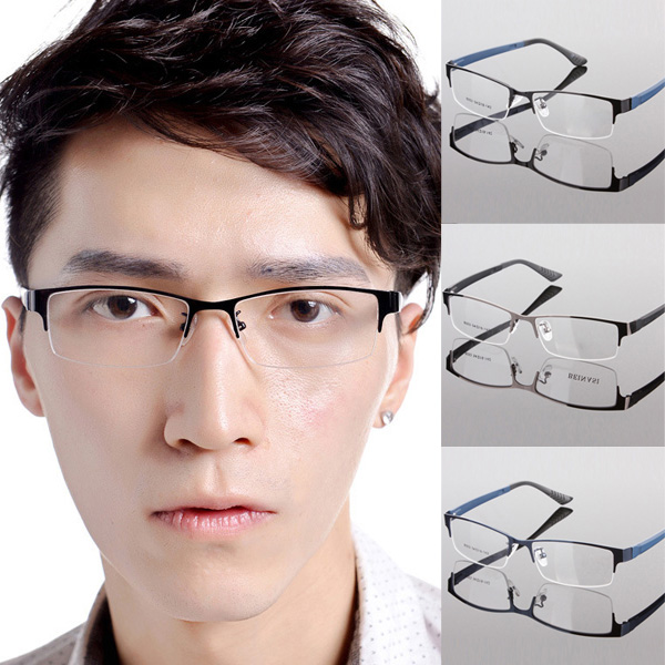 2017 durable men eyewear metal frame half rim designer clear lens eye glasses frame oculos de