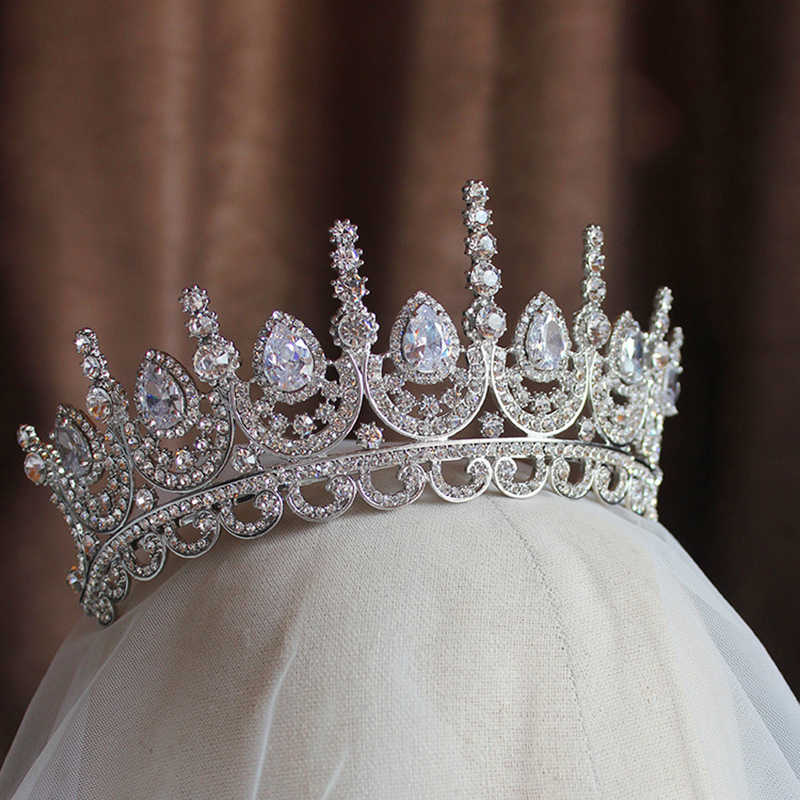 Himstory Vẻ Đẹp Quý Phái Công Chúa Tiara Cubic Zircon Cưới Cô Dâu Vương Miện Kim Cương Giả Trang Thái Cho Cô Dâu Mũ Trùm Đầu