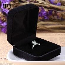 High Quality Engagement Black Velvet Ring Jewelry Display Storage Box Foldable Case For Wedding Valentine's Day Gift Organizer