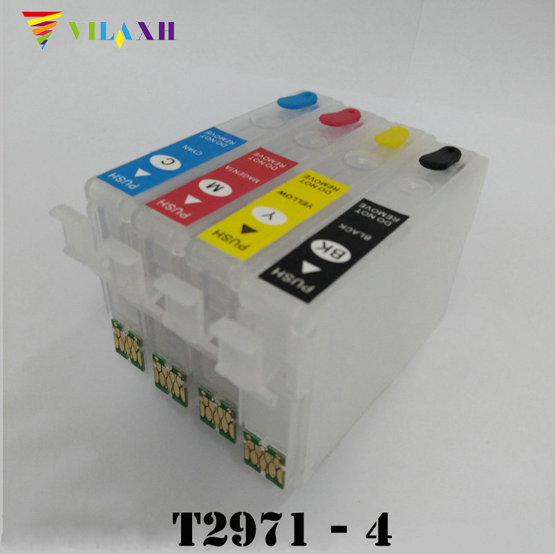 vilaxh T2971 - T2964 Refillable Ink Cartridge For Epson XP231 XP431 XP241 XP-431 XP-231 XP-241 XP 431 231 With One Time Chip t1711 refillable ink cartridge for epson expression home xp 103 xp 203 xp 207 xp 313 xp 413 printer ink with auto reset chip