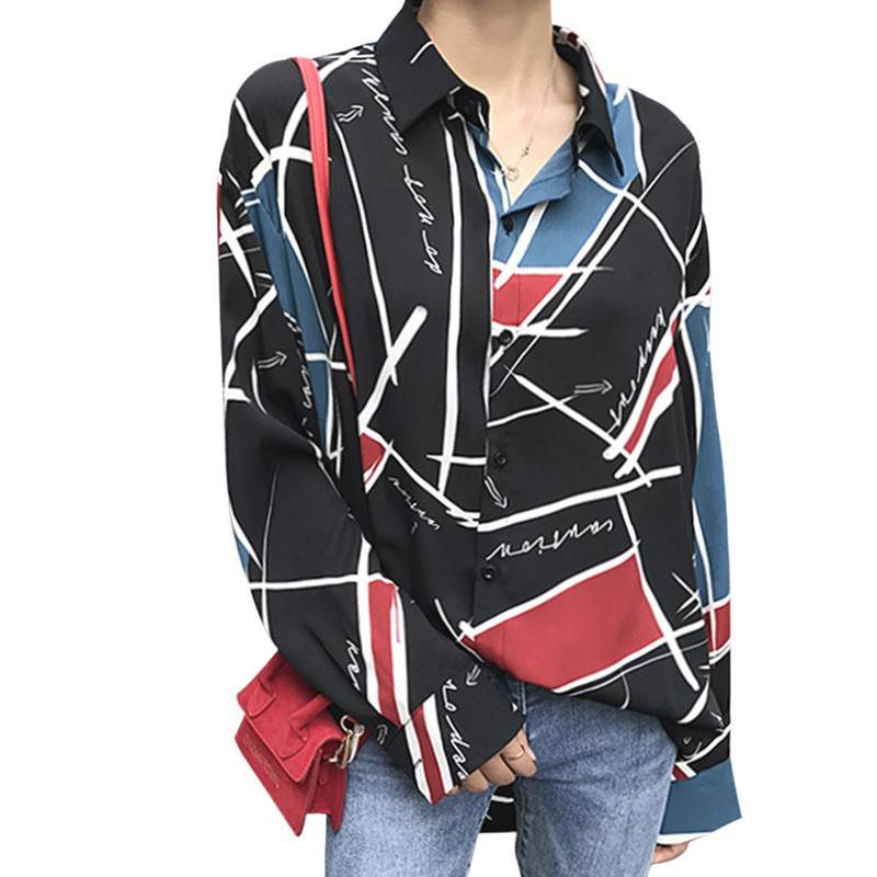 Vintage   Shirts   Women's Long Sleeve   Blouses   Tops Patchwork Print Retro   Blouse     Shirts