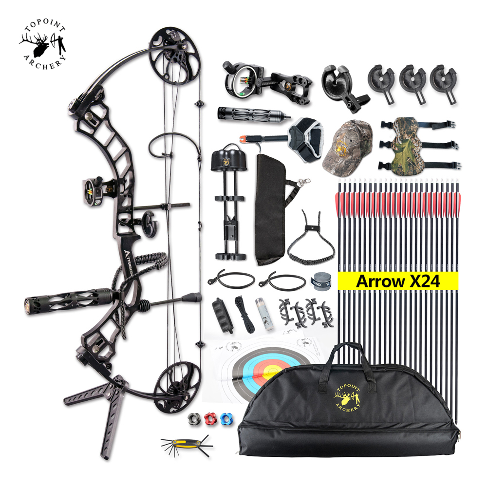 Ship From USA Topoint Archery Trigon Compound Bow Full Package,CNC Milling Bow Riser,USA Gordon Composites Limb,BCY String usa ship