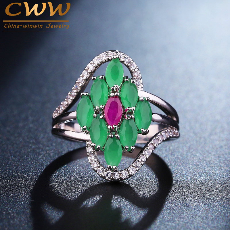 CWWZircons Brand Elegant White Gold Color Micro CZ Stones Paved Natural Green Stone Engagement Rings For Women R077