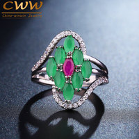 Elegant White Gold Plated Micro CZ Diamond Paved Natural Emerald Green Stone Engagement Rings For Women