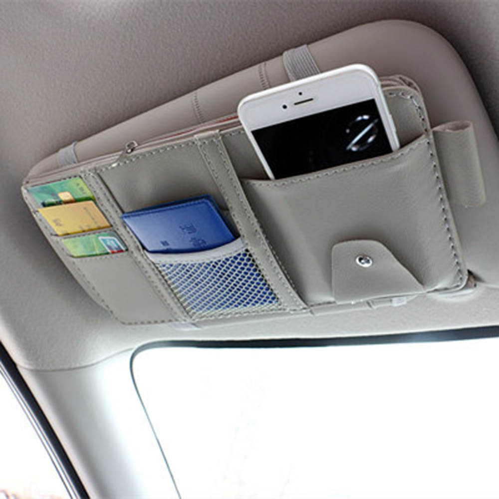 Multifunction PU Car Storage Bag Auto Glasses Ticket Documents Folder Mobile Phone Organizer with Hard Back Auto Interior Accessories Pocket Organizer Red Car Sun Visor Organizer