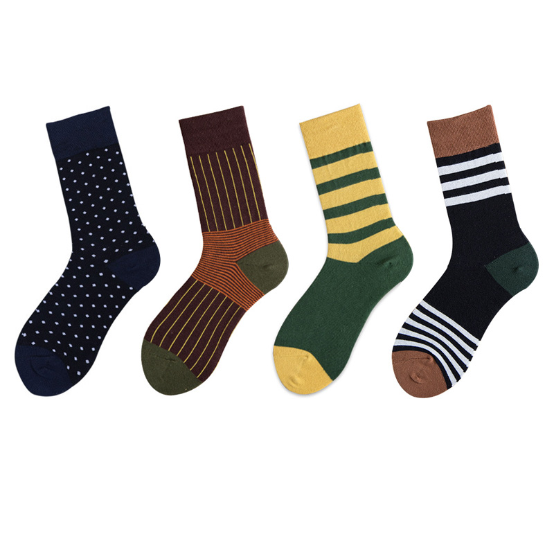 Fashion Cotton Men' Socks Stripe Dot Long Socks Man High Crew Unisex Funny Socks Male Casual Calcetines Mujer Hosiery