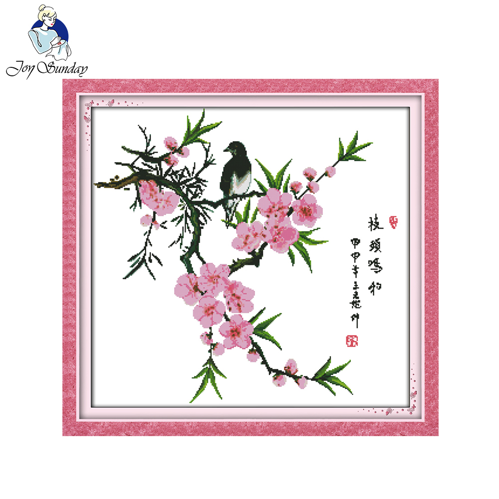̿̿̿(•̪ )Alegría Domingo estilo floral pájaro y flores contados cruz ...
