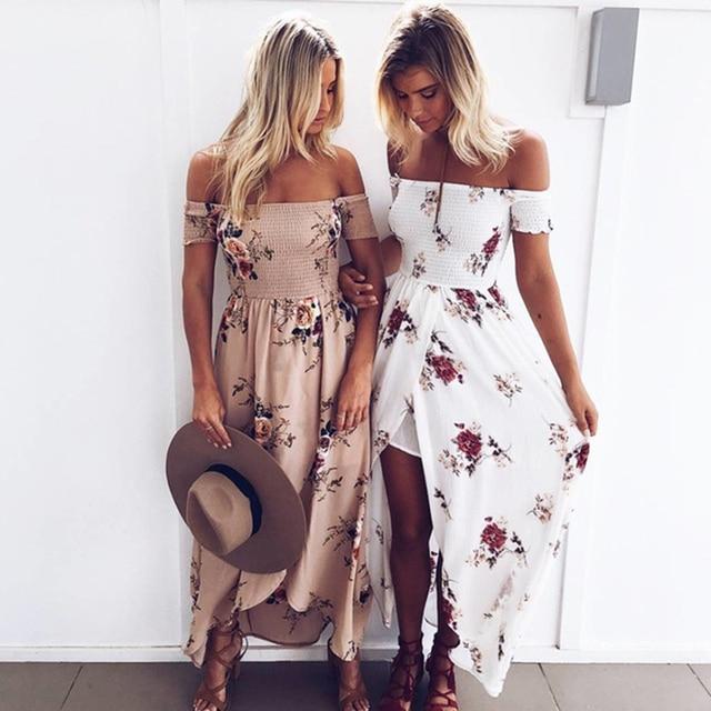 Летние платья boho стиль длинные dress женщины с плеча пляж цветочный печати vintage шифон белый макси dress vestidos де феста
