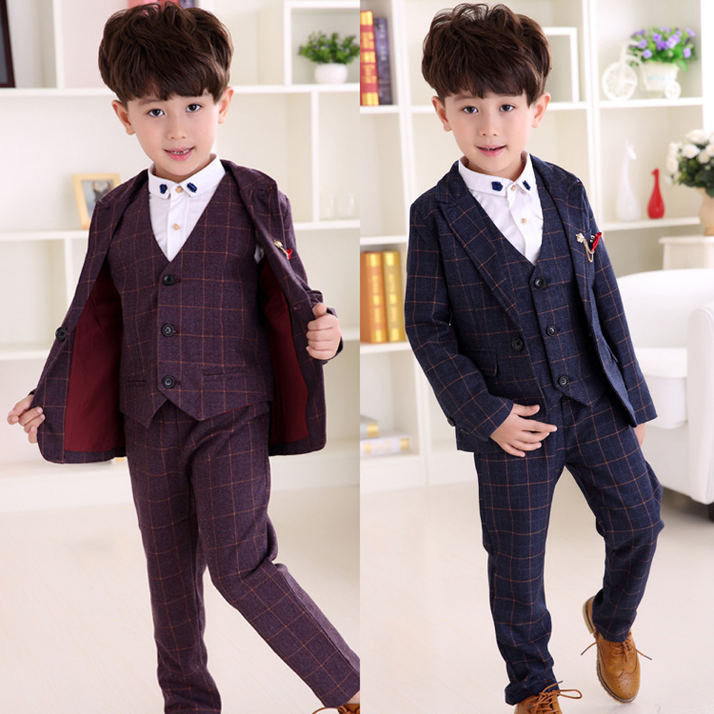 Boys Blazer Kids Jacket+Vest+Pants 3 Pieces Blazers Suits for Wedding Boy Long Sleeve Cotton Clothes Children Outwear Blazer 083 2016 new arrival fashion baby boys kids blazers boy suit for weddings prom formal wine red white dress wedding boy suits