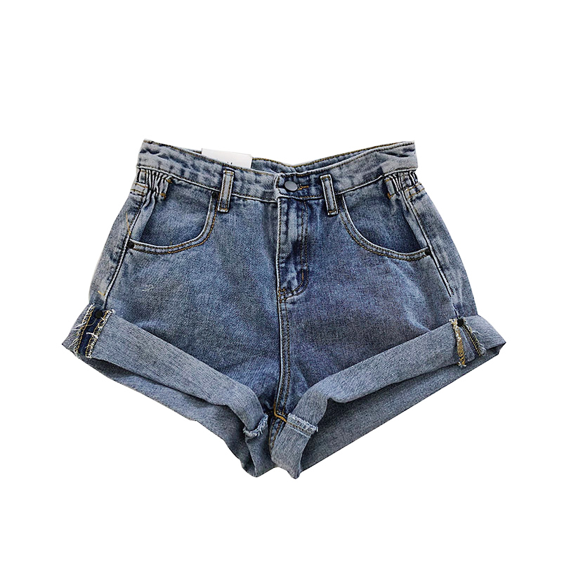 Summer women Pleat curling   shorts   denim hot 2019 female denim casual rolled   shorts   High waist wide-leg denim   shorts   for women
