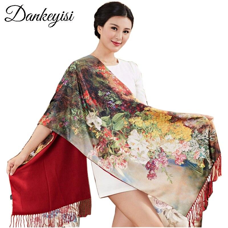 DANKEYISI Marke Foulard Femme Hijab Kopftuch Schal Frauen Lange Quaste Floural Print Schal Winter Schal 100% Silk Schals Weibliche