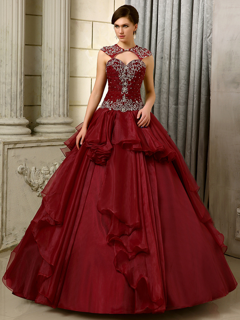 3f8f0ed091a 2016 Big Ball Gown Gowns Burgundy Long Floor Length Sleeveless Beaded  Organza Corset Sweet 16 Quinceanera