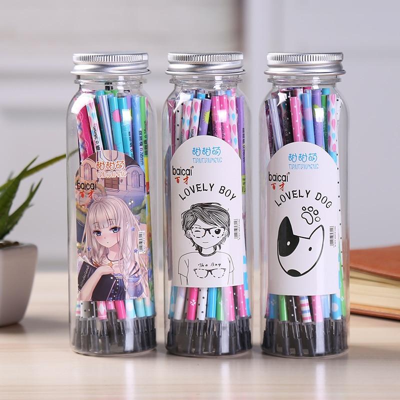 Coloffice Kawaii Bottled Neutral Refill 40pc/box Gel Pen Refills 0.38mm Black Gel Pen Primary Studentprizes School Office Supply