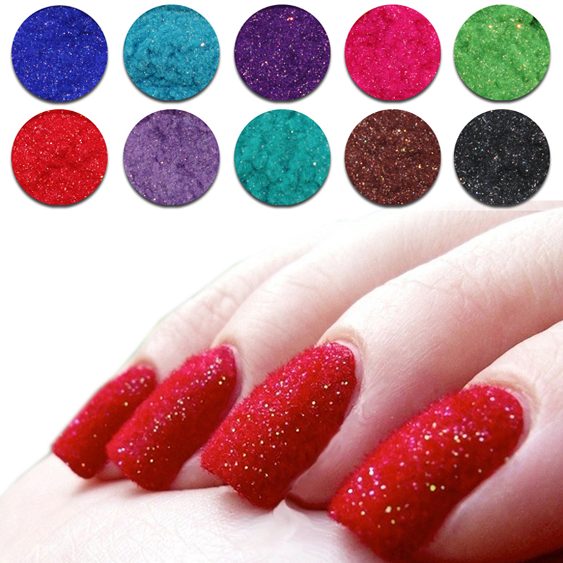 Nail 6 colors lot flocking powder mixed 72 colors nail for 3d nail decoration