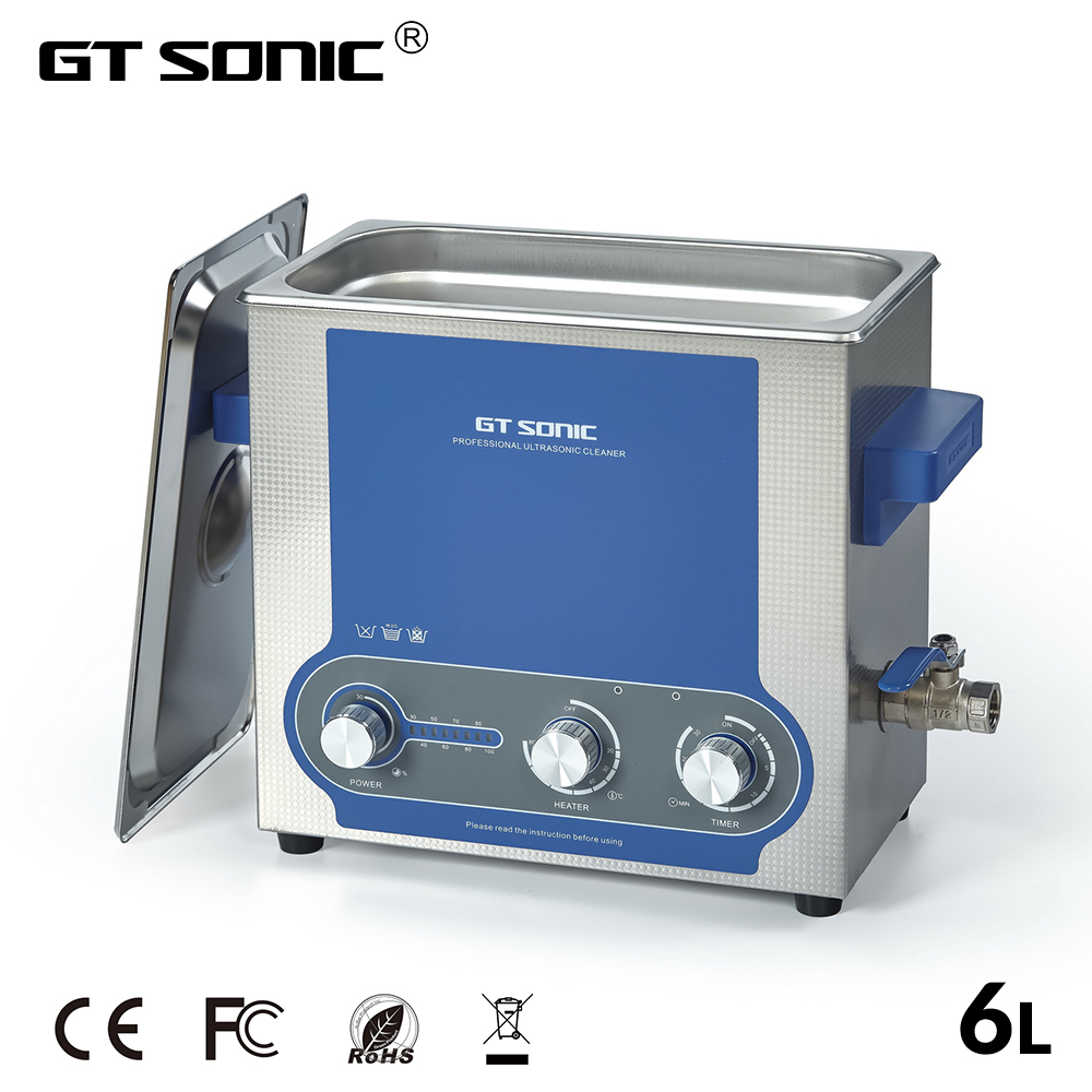 GTSONIC Ultrasonic Cleaner Bath 6L Power Adjustable 45 150W Jewelry Ring Watches Glasses Manicure Denture Necklace