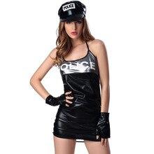 Costumi di halloween per le donne plus size sexy Poliziotte cosplay giochi di ruolo di polizia cop rosso déguisement adulto operato del vestito