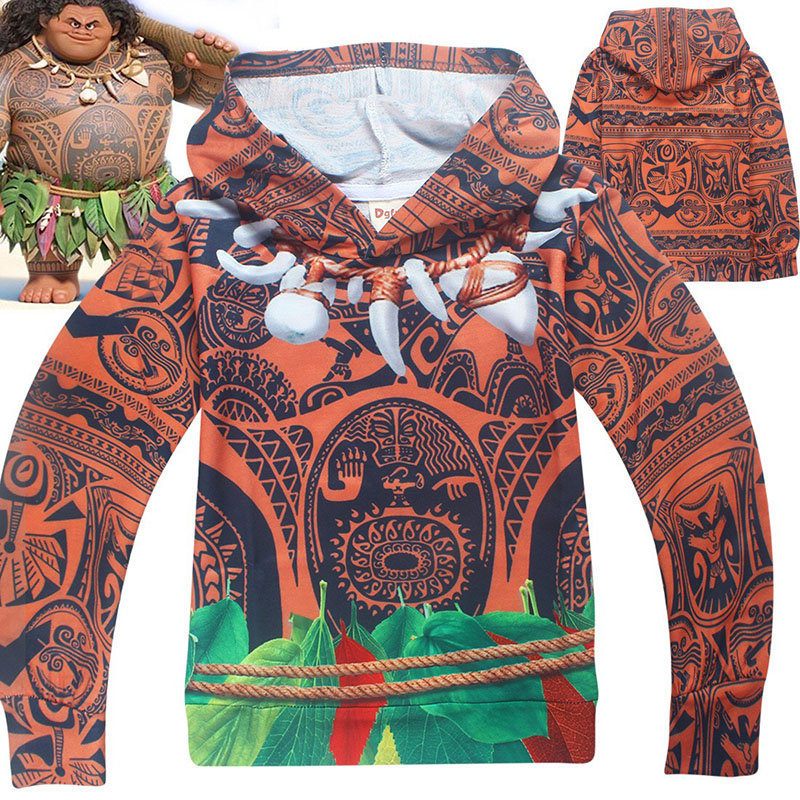 Child Boys Halloween Moana Maui Costume Funny Cosplay Pullover Sweatshirt Cool Clothes Hoodie Hooded Coat Gift For Kids 4-10T/Y
