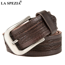 LA SPEZIA Classic Men Belt For Jeans Genuine Leather Cowhide Pin Buckle Male Retro Brand Italy Coffee High Quality Belts