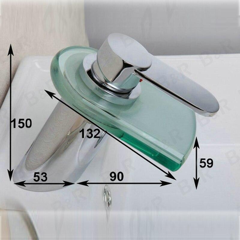 Бакала оптом и в розницу полированный хром светодиодный Водопад Носик Ванная комната смеситель Современная Arc Форма мойки смесители