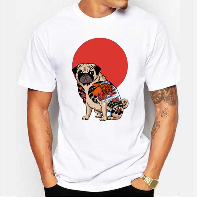 Mode Yakuza Mops Männer t-shirt kurzarm casual tops hipster cartoon tattoo mops gedruckt lustige t shirts tier cool t