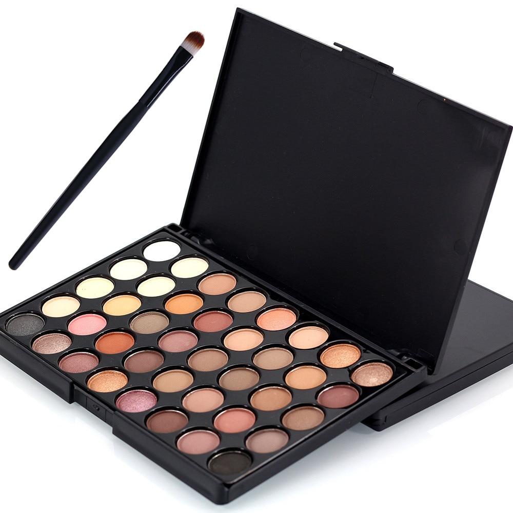 40 barevných matných očních stínů Paletka + 1 štětec make up - Makeup